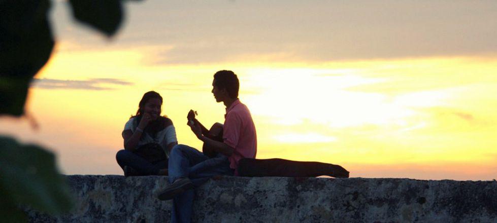 Liebespaar im Sonnenuntergang